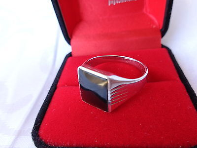 South Australian Cowell Black Jade Stamped 925 Sterling Silver Signet Ring