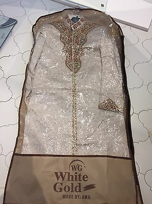 Men's Indian Stylish Sherwani Suit Size Small Gold Red Wedding