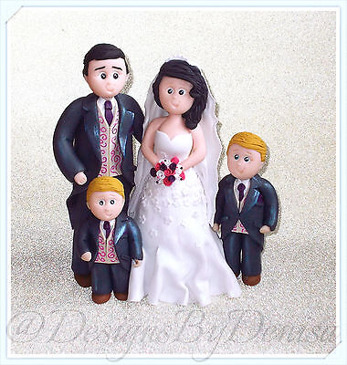 Family Wedding Cake Topper Personalised Clay Toppers with Kids or Pets