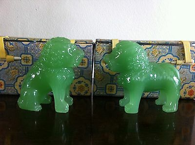 Vintage Franklin Heirloom The Guardians Of The Ming Dynasty Jade Glass Lions