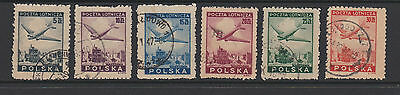 Poland  1946 Airmail complete set of 6 used.