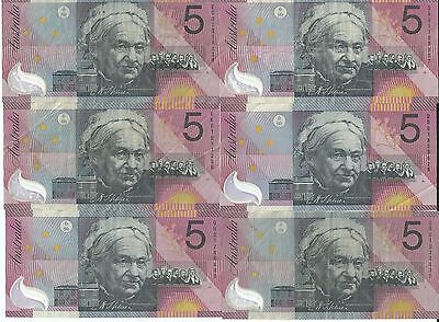 6x $5 CENTENARY of FEDERATION NOTES ALL NOTES ARE IN WELL CIRCULATED CONDITION
