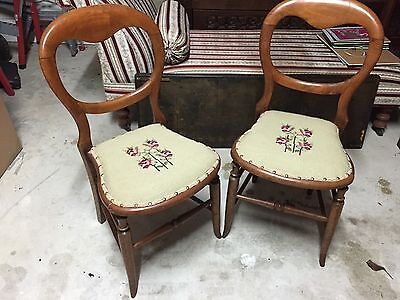 2 Antique Vintage Balloon Back chairs with tapestry seat