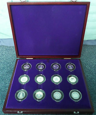 Royal Mint Coronation Silver Jubilee Set Proof 50p Collection 1953 - 2003