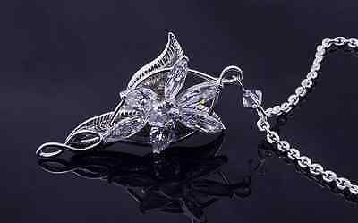 Lord Of The Rings Arwen Evenstar Pendant Necklace Silver Plated Crystal set 18""