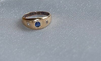 ANTIQUE 18ct GOLD GYPSY RING SAPPHIRE & DIAMOND Size - L    c1901