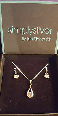 Jon Richards Simply Silver Necklace & Earrings Set - New