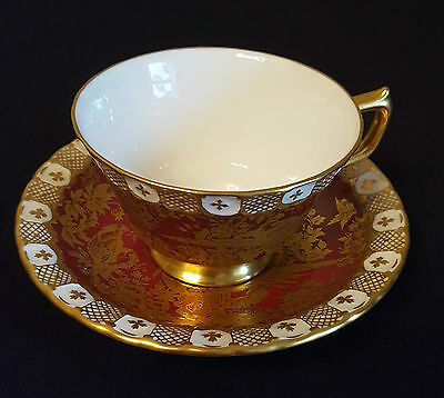 Rare Royal Crown Derby Paradise Maroon Tea Cup & Saucer - Discontinued