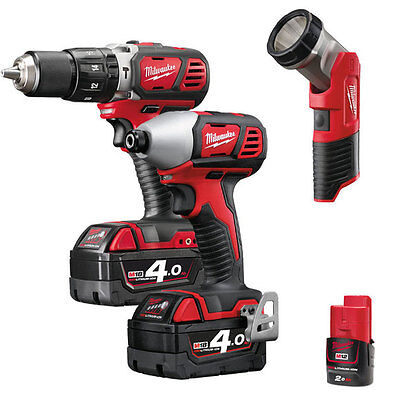 Milwaukee M18 BPP2H-413C Twin Pack 2 x 18 Volt 4.0Ah/1 x 12 Volt 2.0Ah Li-Ion