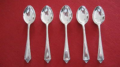 5 SET of  Vintage APEX SILVER PLATE EPNS A1 DEMITASSE COFFEE SPOONS in V.G. COND