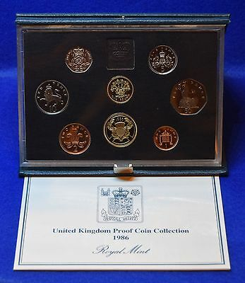 1986 Royal Mint Proof Coin Set In Blue Case With Coa