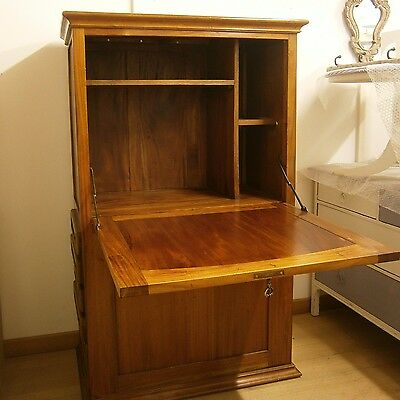 Large Solid Wood TV Drinks Storage Cabinet Cupboard with Drawers and Drop Leaf
