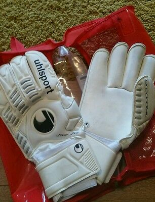 Uhlsport  Rollfinger ergonomic Goalkeeper gloves . While silver black size 10