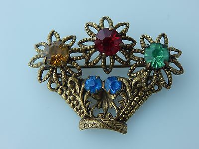 Vintage Art Deco Czech Flower Basket Paste Brooch
