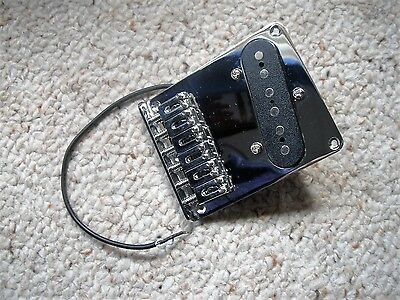 Chrome 6 Saddle Bridge with Pickup for Telecaster style Guitar