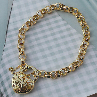 """9K Yellow Gold Filled Belcher Bracelet Solid Chain With Heart Locket """"Stamp 9K"""""""