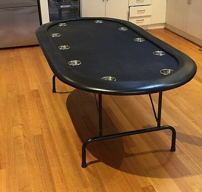 """84"""" Pro Series Suited Black Poker Table Stainless Steel - Speed Cloth"""