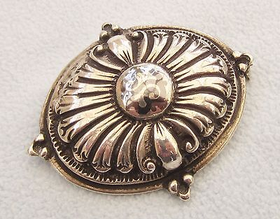 Vintage 925 Solid Silver Pin Brooch Black Niello Centre