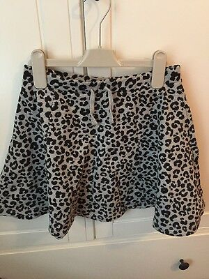 H&M Hennies Grey Leopard Print Skater Skirt. Jersey Material. Age 12-14 Years.