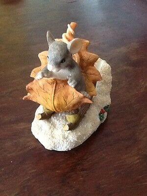 Charming Tails One Mouse Open Sleigh CUTE Leaf  snow figurine winter