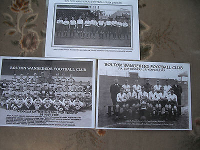 3 Bolton Wanderers Reproduction Laminated Team Photographs 1905-06,1929.1989