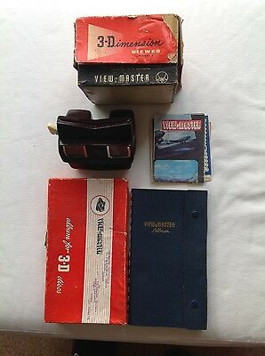 Viewmaster model E plus 16 reels in blue Viewmaster album