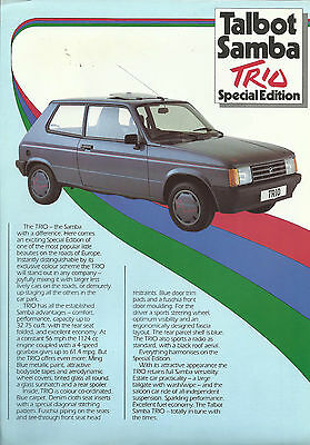 TALBOT SAMBA TRIO limited edition A4 2-sided colour leaflet 1984