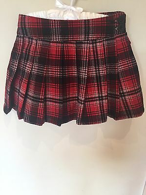Gorgeous Red Tartan Pleated Skirt Girls Age 3 Brand New With Tags Cute Christmas