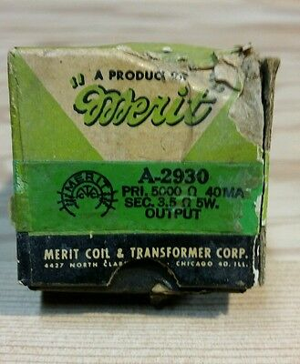 Vintage Merit And Coil Transformer Corp NOS A-2930