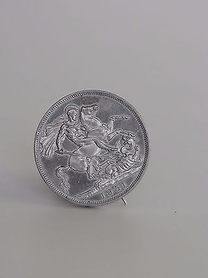 1951 Five Shillings Coin George VI Brooch