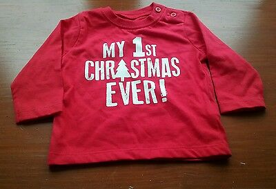 Brand New Red 'my 1St Christmas Ever' T Shirt Size 0-3 Months Long Sleeves
