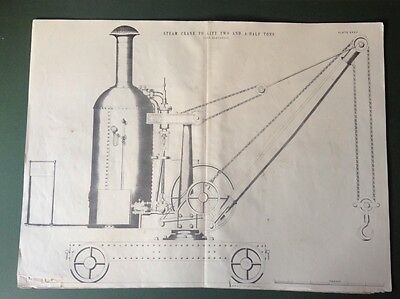 Antique Large Engineering Drawings Steam Crane 2.5 Ton 19th Century 3 Plates