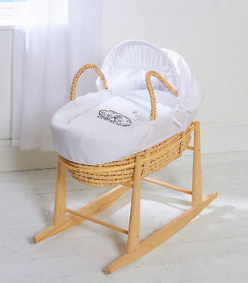 Beautiful Baby Moses Basket Palm With Rocking Stand Dogs