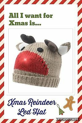 Christmas Reindeer LED Beanie Hat Brown/Red - Brand New