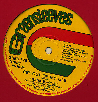 """FRANKIE JONES: GET OUT OF MY LIFE Limited Edition 12"""" 45 rpm 1985 ROOTS REGGAE"""
