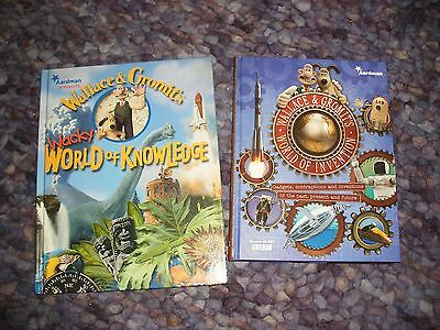 2 Wallace and Gromit books-Wacky world of Knowledge +World of invention