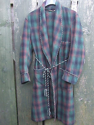 Vintage men's dressing/smoking gown by Society wear, green/brown wool plaid 42""