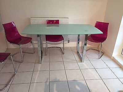 Glass Dining Room Kitchen Table And Chairs