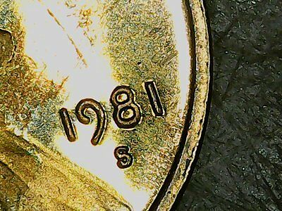 """1981-S lincoln cent  Cameo Proof, Clear """"S"""", AU."""