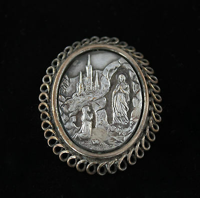 Antique Vintage Silver Repousse Religious Scene Cameo Brooch Virgin Mary Madonna
