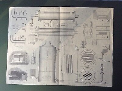 Antique Large Engineering Drawing Vertical Steam Boiler 19th Century