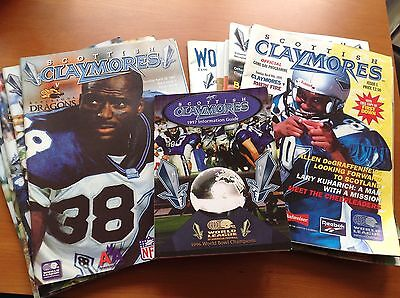 Rare Scottish Claymores World League Nfl Europe American Football Programmes