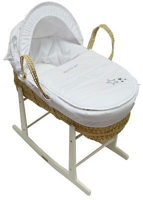 Moses Basket My Little Star White Palm and White Rocking Stand