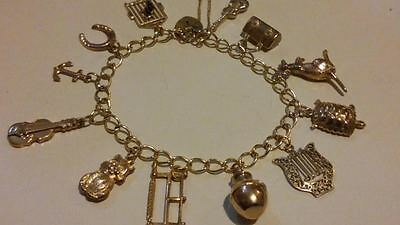 RARE Vintage 9ct 375 Solid Yellow Gold Traditional Charm Bracelet & 12 Charms**