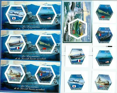SUBMARINES WWII war SET 6 hexagon stamps + 4 s/s Tchad  #tchad2014-55s IMPERF