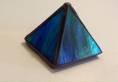 Pyramid Paper Weight Metal With Rainbow Glass