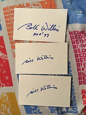 Lot Of 3 Autographed 3x5 Index Cards Bill Willis HOF Football Cleveland Browns