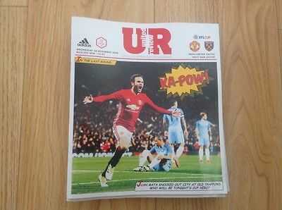 Manchester United V West Ham United Official Matchday Programme  -30/11/16