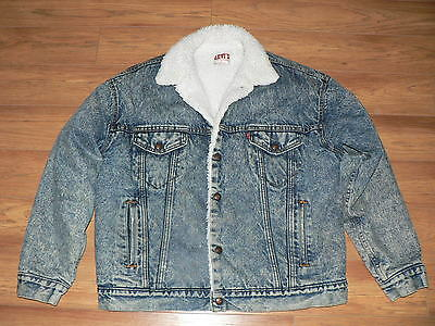 Vintage Levis Acid Wash Sherpa Lined Jean Jacket Men's L