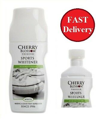 Cherry Blossom Sports Whitener Trainers Shoes Boots Leather White Polish Cleaner